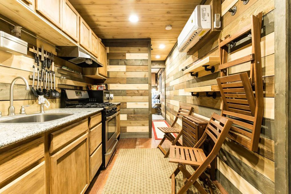 Rustic Interior - Blue Steel Tiny Container Home
