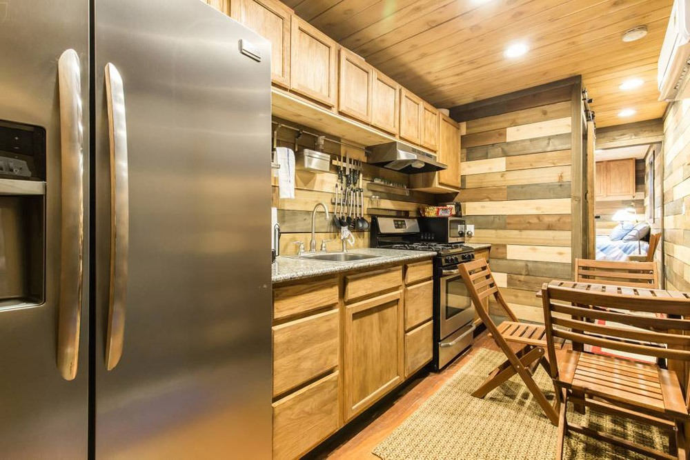 Full Size Appliances - Blue Steel Tiny Container Home