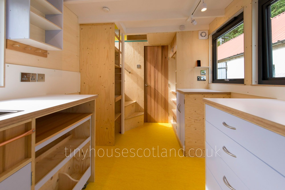 Galley Kitchen - NestPod by Tiny House Scotland