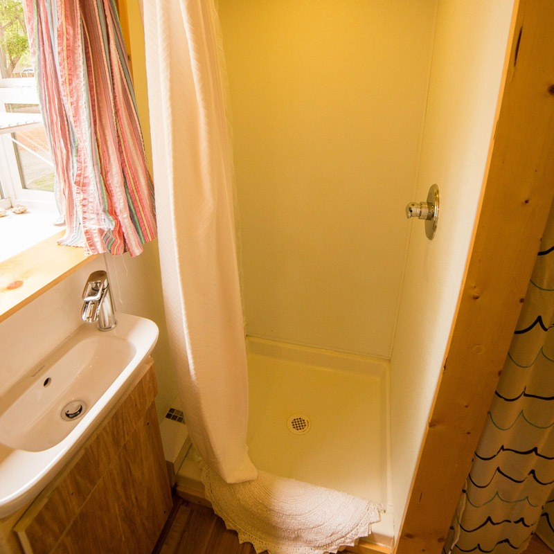 Shower Stall - Pequod at WeeCasa Tiny House Resort