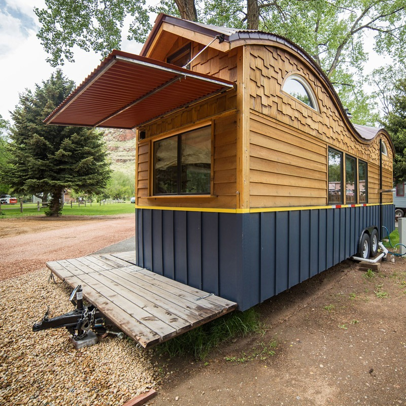 Deck and Overhang - Pequod at WeeCasa Tiny House Resort
