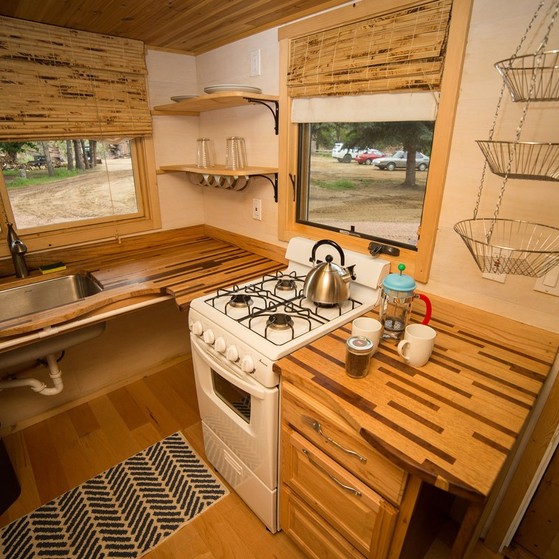 Hickory & Walnut Countertop - Pequod at WeeCasa Tiny House Resort