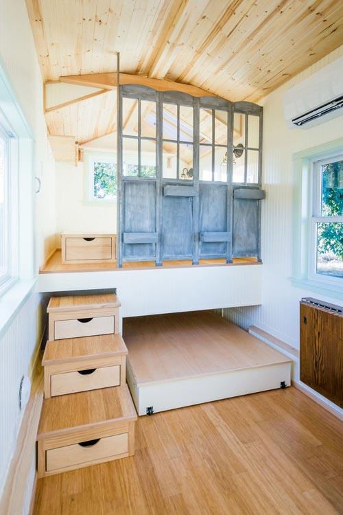 Raised Bedroom Platform - KerriJo's Tiny House by MitchCraft Tiny Homes
