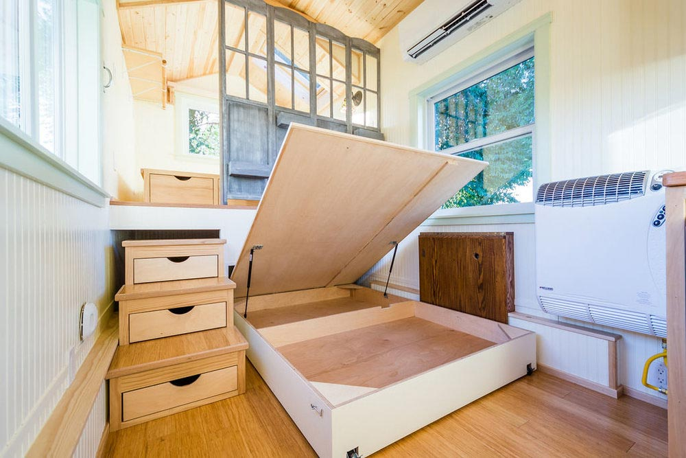 Bed Storage - KerriJo's Tiny House by MitchCraft Tiny Homes