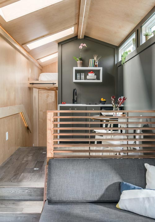 Walnut Handrail - Orchid by New Frontier Tiny Homes