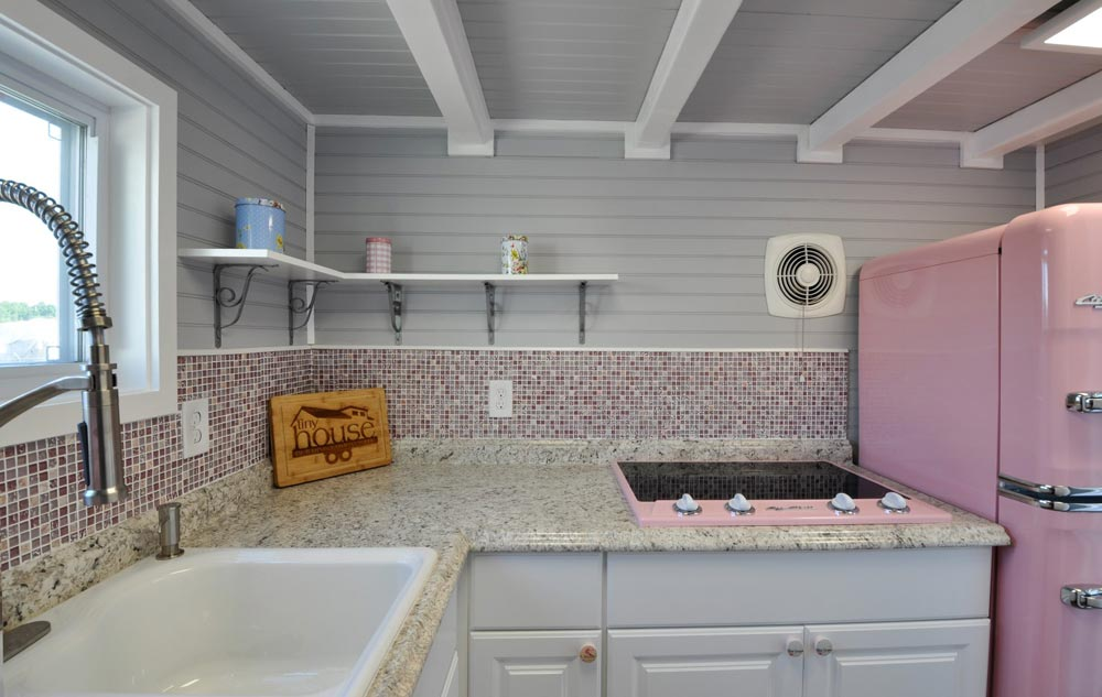 Pink/Gray Backsplash - Getaway by Tiny House Building Company