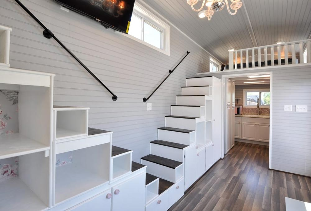Double Storage Staircase - Getaway by Tiny House Building Company