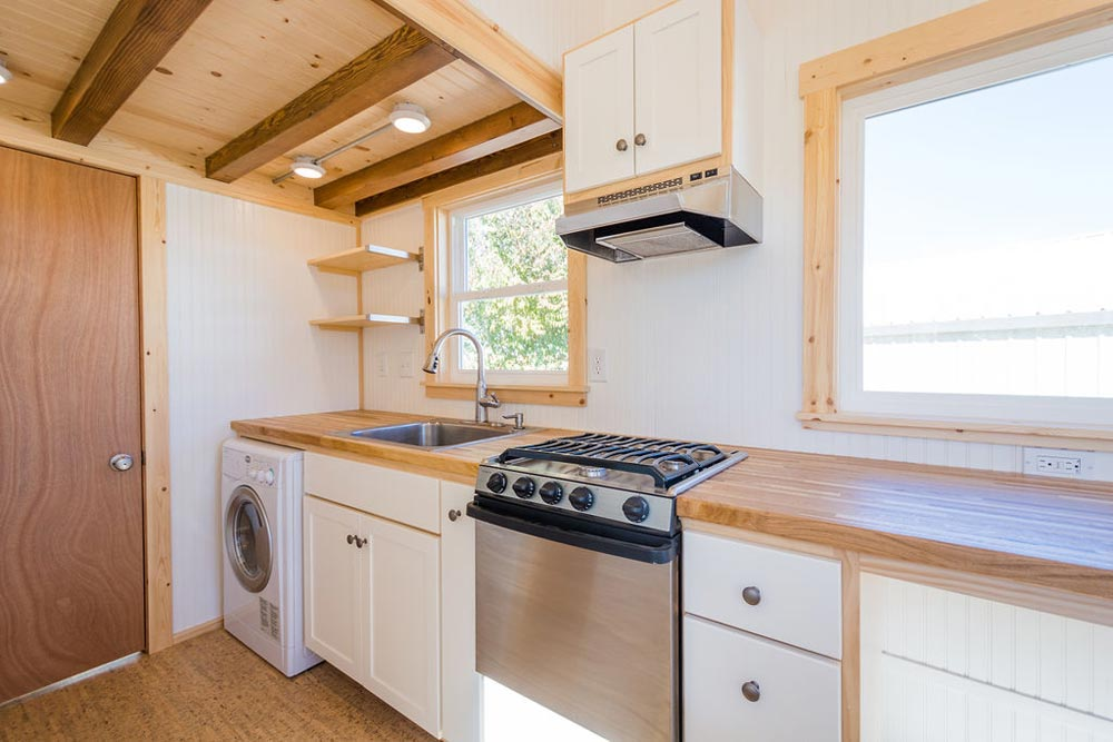 Gas Range w/ Hood - Kailey's 22' Off-Grid Tiny House by Mitchcraft Tiny Homes