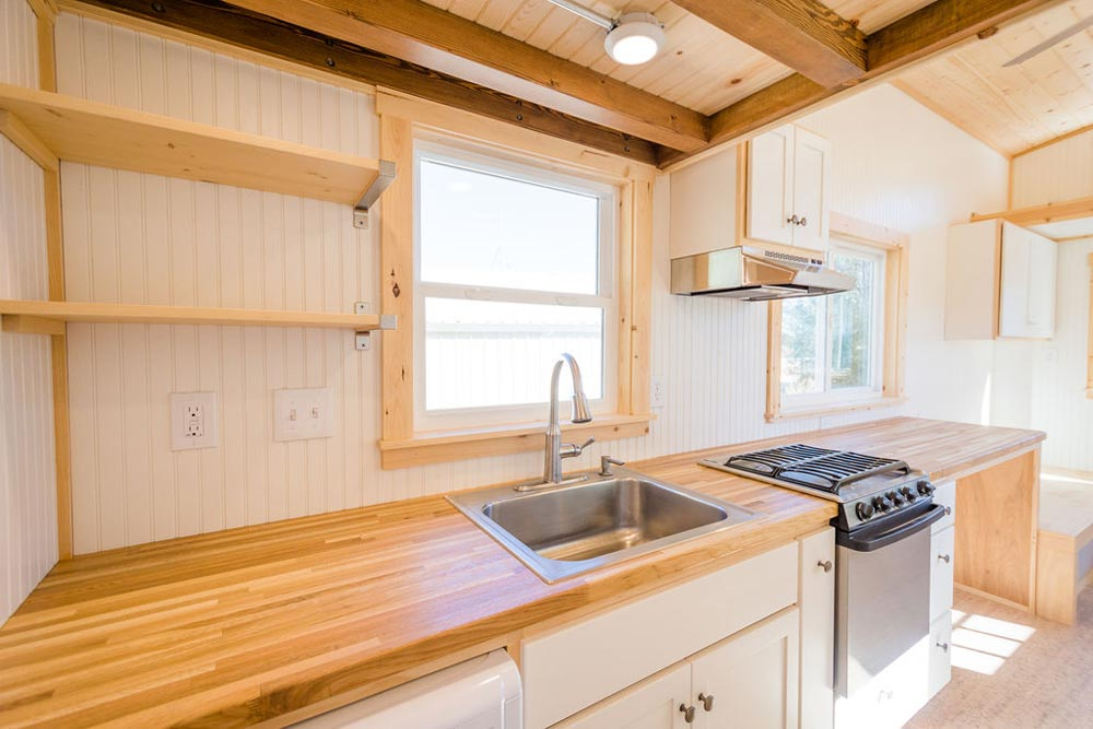 Butcher Block Counter - Kailey's 22' Off-Grid Tiny House by Mitchcraft Tiny Homes