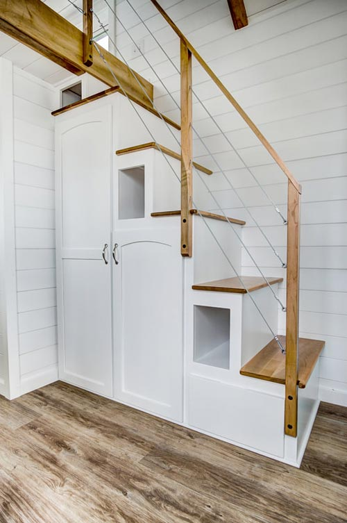 White Storage Staircase - Kitty Hawk by Modern Tiny Living