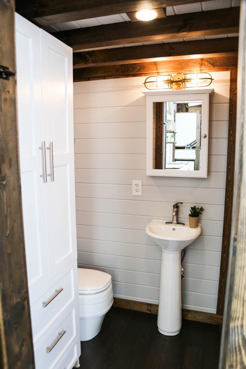 Pedestal Sink - Mini Mansion by Tiny House Chattanooga