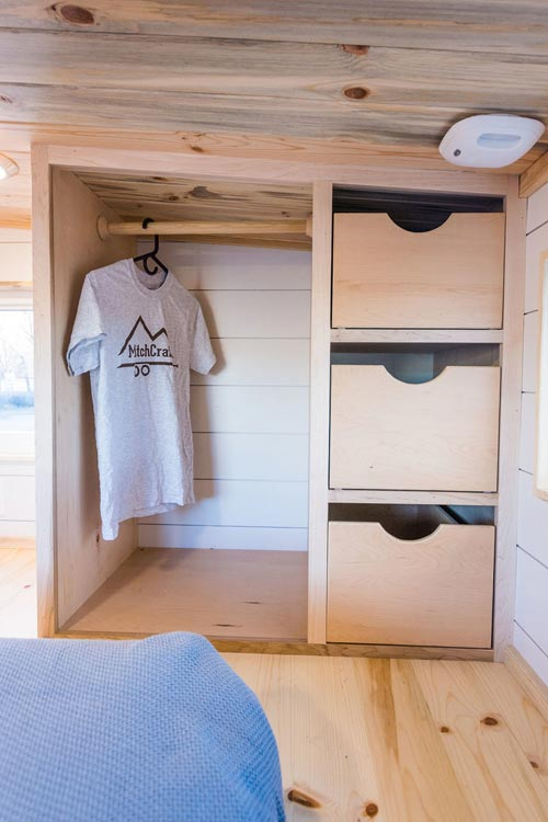Bedroom Closet - 20' Tiny House by MitchCraft Tiny Homes