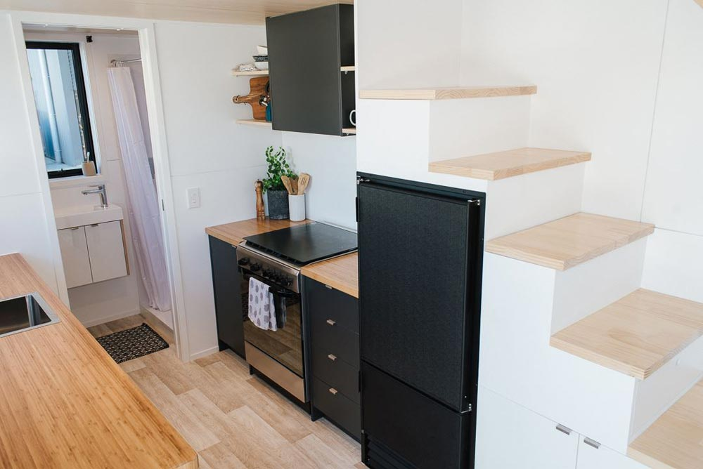Black 12v Refrigerator - Ibbotson Tiny House by Build Tiny