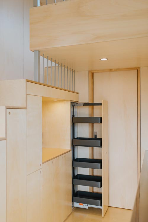 Slide-Out Pantry - First Light Tiny House by Build Tiny