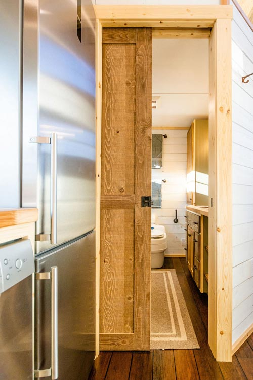 Pocket Door - Ross' 35' Gooseneck Tiny House by Mitchcraft Tiny Homes