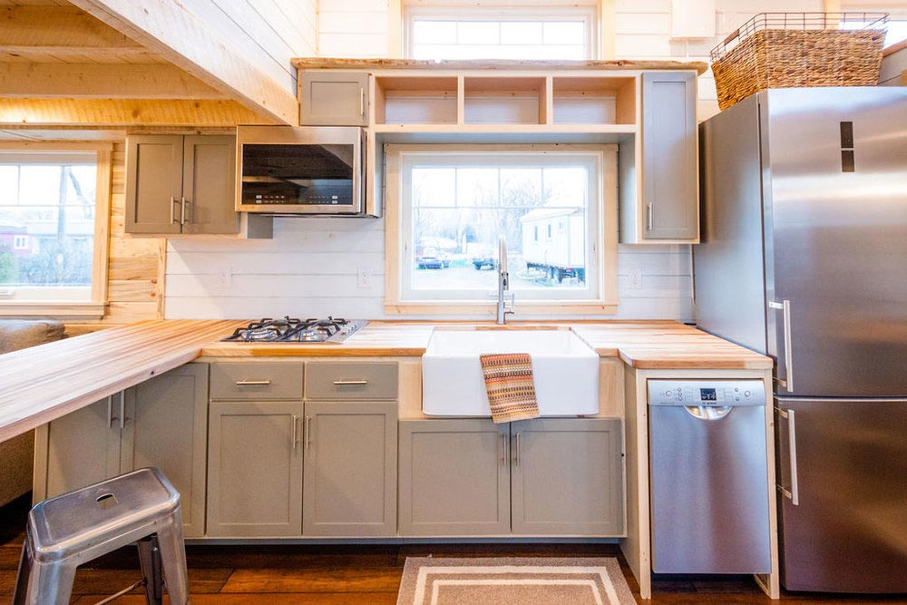Kitchen Cabinets - Ross' 35' Gooseneck Tiny House by Mitchcraft Tiny Homes