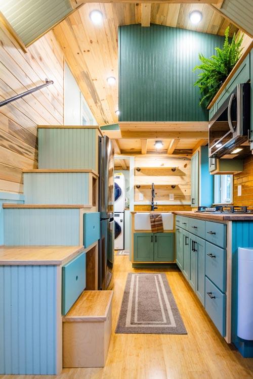 Kitchen & Loft - Carrie's 28' Gooseneck Tiny House by Mitchcraft Tiny Homes