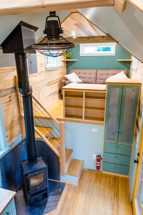 Wood-Burning Stove - Carrie's 28' Gooseneck Tiny House by Mitchcraft Tiny Homes