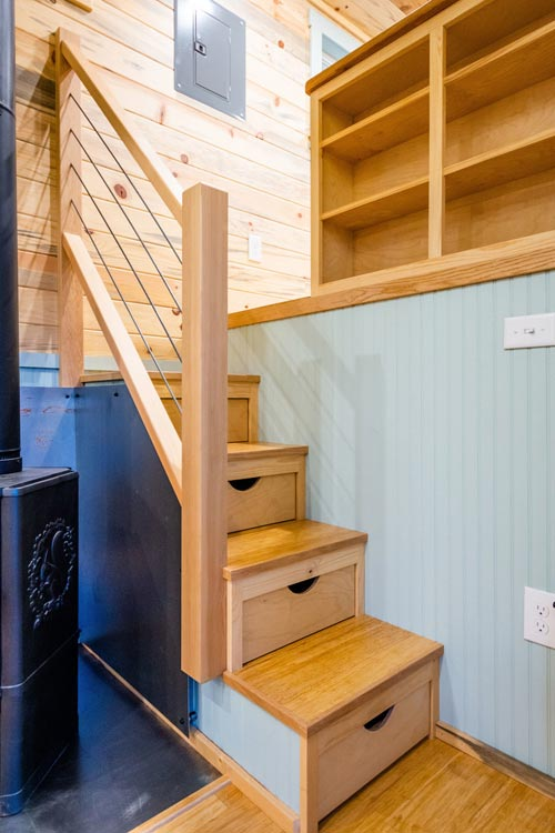 Lounge Stairs - Carrie's 28' Gooseneck Tiny House by Mitchcraft Tiny Homes
