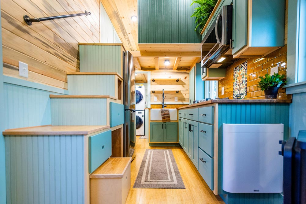 Kitchen & Storage Stairs - Carrie's 28' Gooseneck Tiny House by Mitchcraft Tiny Homes