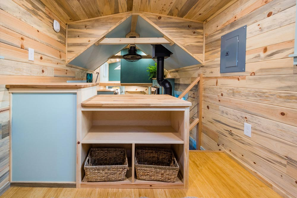 Living Room Storage - Carrie's 28' Gooseneck Tiny House by Mitchcraft Tiny Homes
