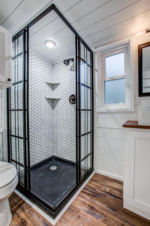 Corner Shower - 34' Magnolia by Indigo River Tiny Homes
