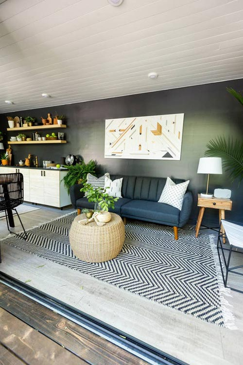 Living Room - Woodsy Shipping Container Tiny Home