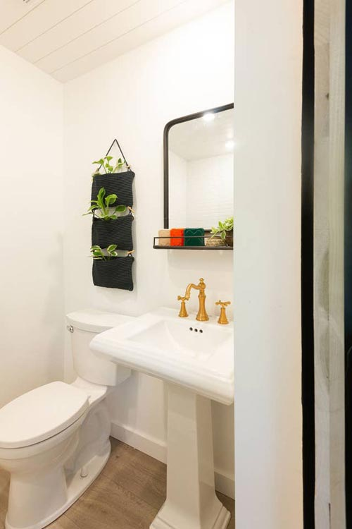 Pedestal Sink - Woodsy Shipping Container Tiny Home