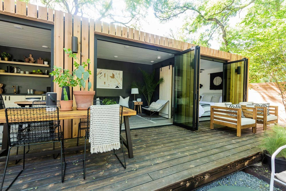 Large Deck - Woodsy Shipping Container Tiny Home