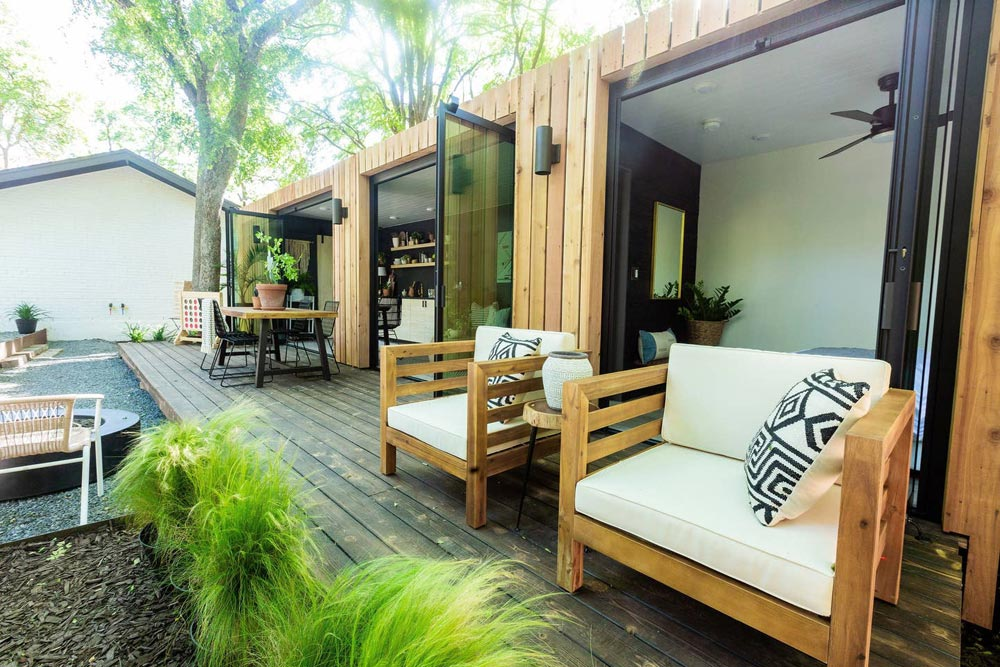 Outdoor Living Space - Woodsy Shipping Container Tiny Home