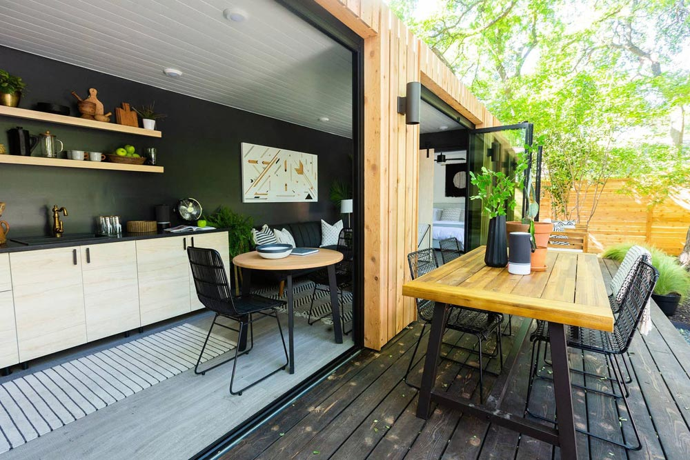 Indoor/Outdoor Dining Areas - Woodsy Shipping Container Tiny Home