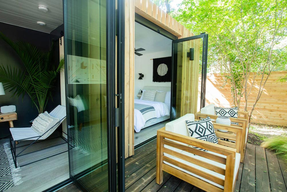Full Height Glass Doors - Woodsy Shipping Container Tiny Home