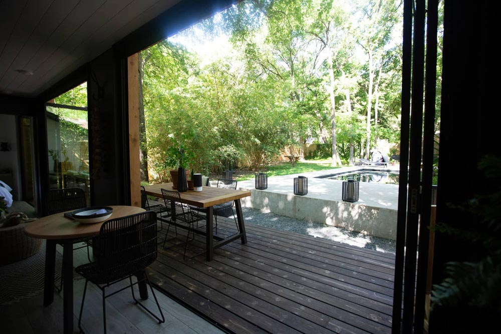 View From Deck - Woodsy Shipping Container Tiny Home