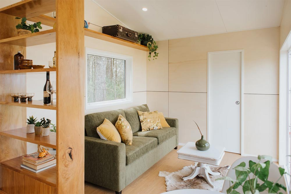 Queen Fold Out Couch - Cherry Picker Tiny House by Build Tiny