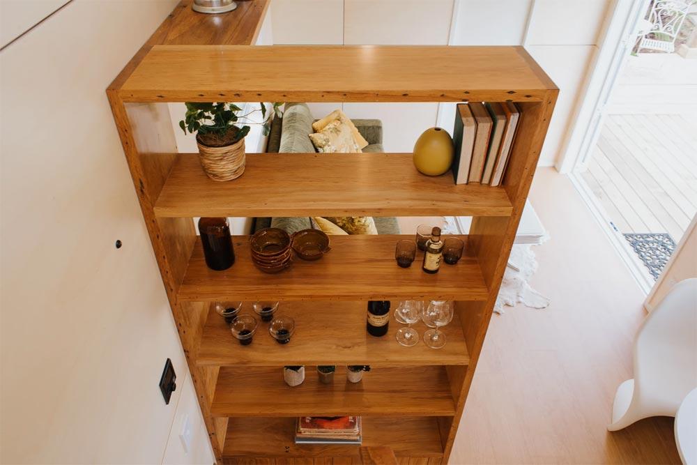 Rimu Timber Bookcase - Cherry Picker Tiny House by Build Tiny