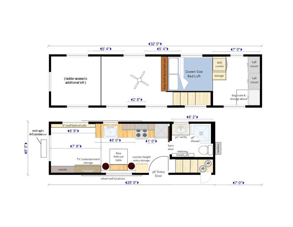Floor Plan - Nicole's Tiny House by MitchCraft Tiny Homes