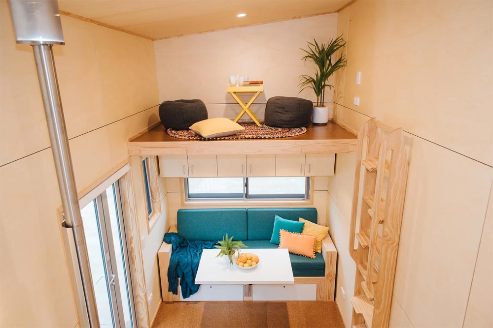 Living Room / Storage Loft - Sonnenschein Tiny House by Build Tiny